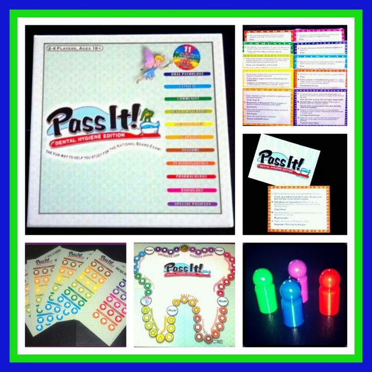 Pass It dental hygiene board game, a study tool for board