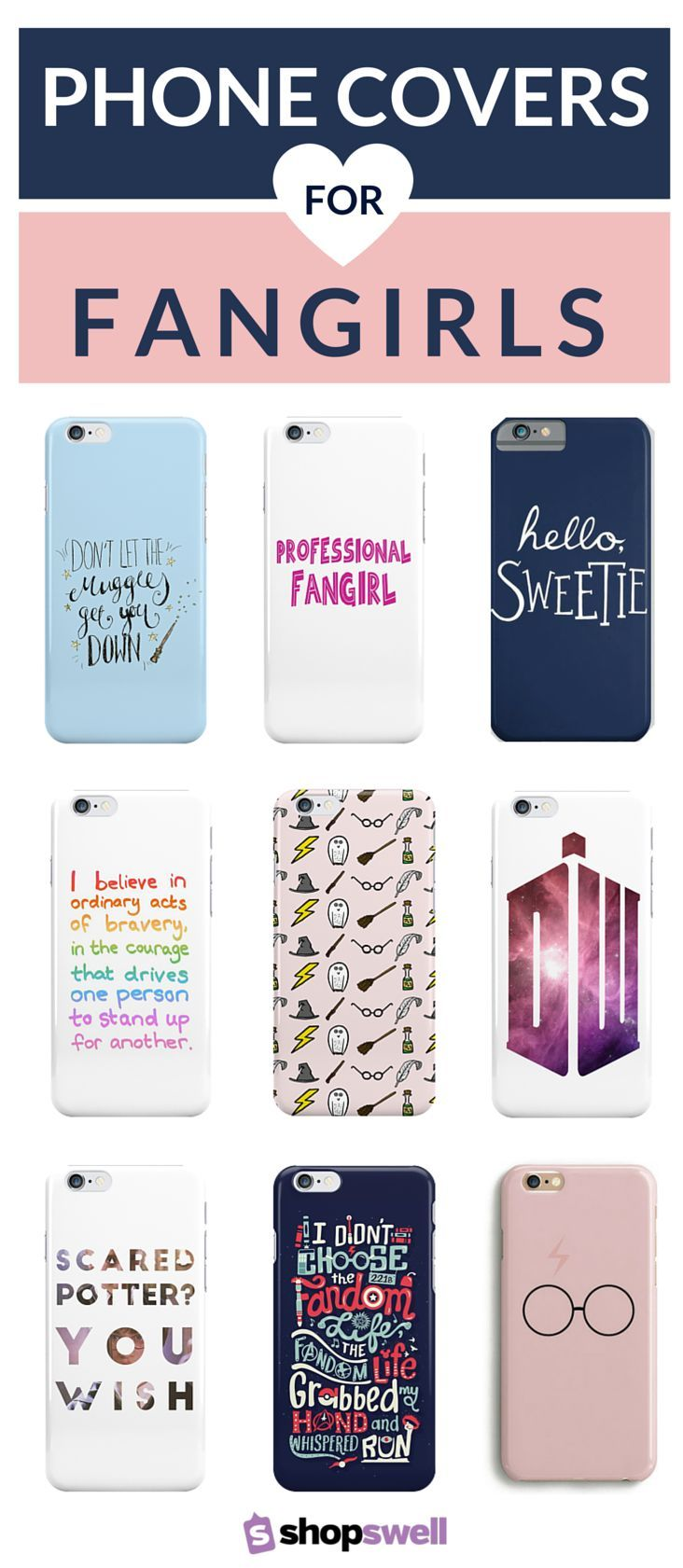 Get your geek on with one of these phone covers sure to make any fangirl squeal. Click through to shop the fangirl phone cover collection.