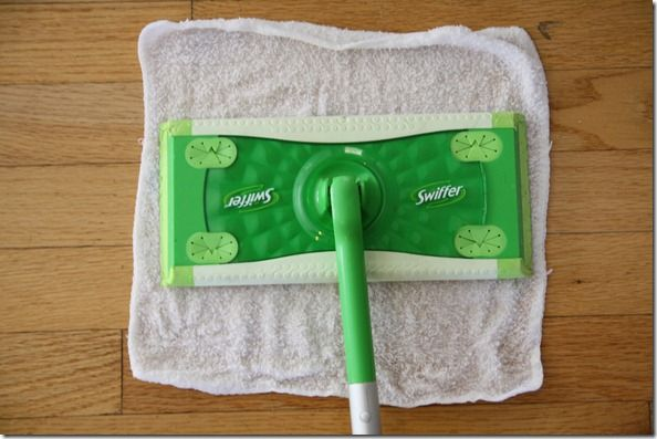 Old washcloth as a swiffer pad (and then vinegar, soap, and essential oils as the solution). Well, that's a giant DUH! No more buying those expensive pads for me! And no more headaches from the smell of the cleaning solution!