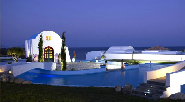 Destination wedding at the Atrium Prestige in Rhodes island. Notice the deep blue backdrop of the sky and the Aegean sea...