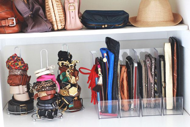 And if you have shelf space, paper towel holders make good bracelet and belt organizers, and magazine file boxes can keep small leather goods in order.