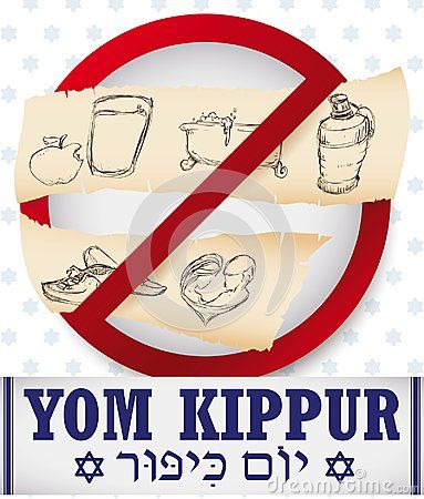 Signal with prohibitions on Yom Kippur -written in Hebrew, over tallit-: no eat and drink, no bath, no use perfumes, no wear leather shoes and don`t have sex in hand drawn style over scrolls.