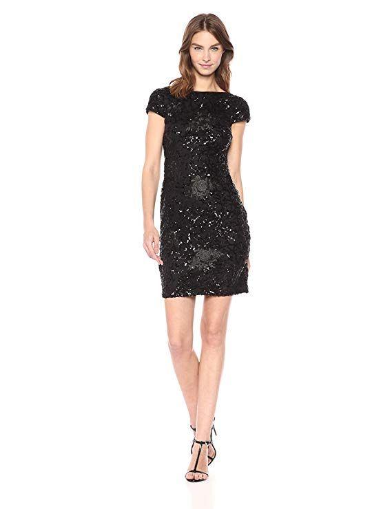 10cc7db53ad2 Calvin Klein - Vestido Corto de Lentejuelas para Mujer, Negro, 2 ...