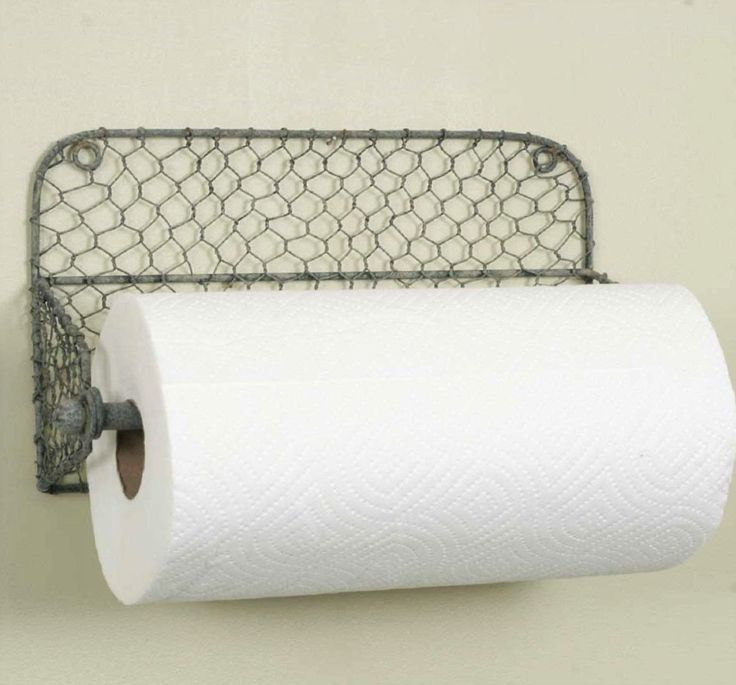 Rustic Farmhouse Wall Mount Paper Towel Holder w/ Chicken wire Backing