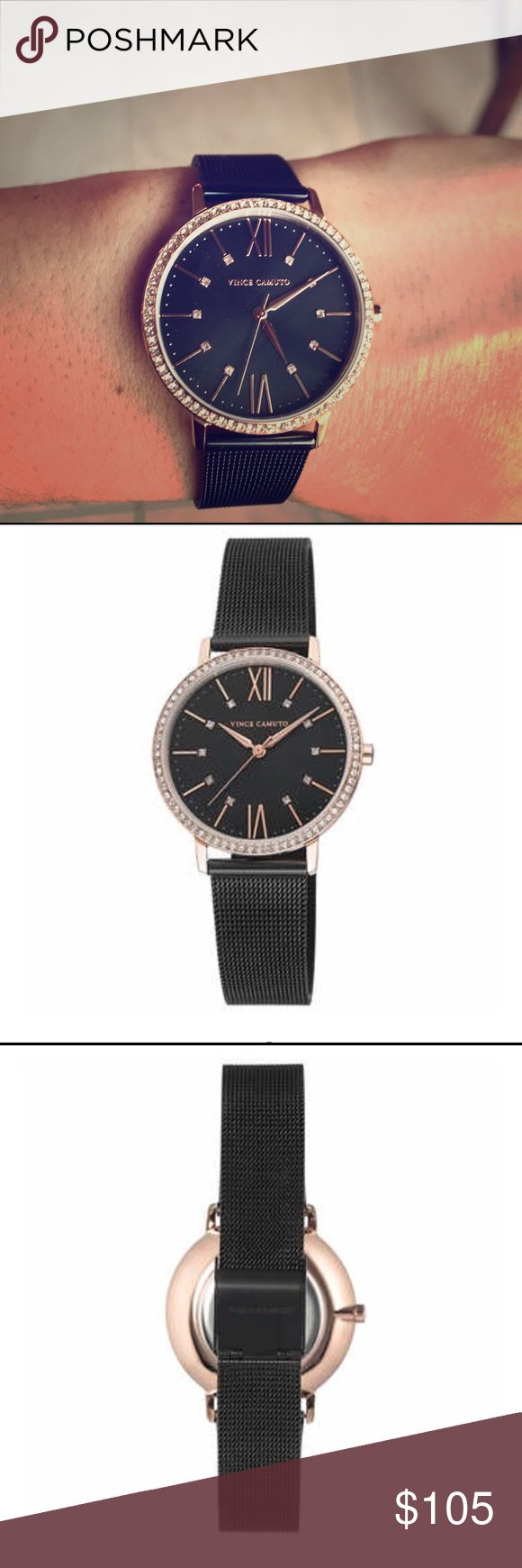"""Vince Camuto women's black rose gold Swarovski 100% AUTHENTIC  BRAND NEW PERFECT condition  No box  Brand: Vince Camuto Case Material: Stainless Steel Case Thickness: 6.5mm Case Width: 34mm Bezel: Rose Gold-Tone set with 72 clear Swarovski Crystals Movement: Japanese Quartz Crystal: Mineral Dial: Black Bracelet Material: Stainless Steel Mesh Bracelet Width: 16mm Bracelet Length: 8.5"""" Clasp: Hook Buckle Water Resistant: 100 feet (30M) Vince Camuto Jewelry"""