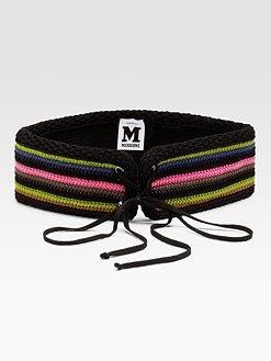 M Missoni - Lace-Up Crochet Belt