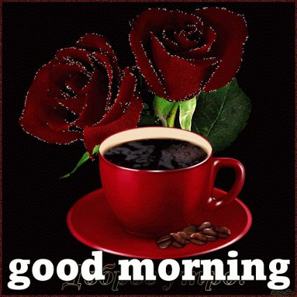 Morning Coffee in a Red Cup with Red Roses ..Good