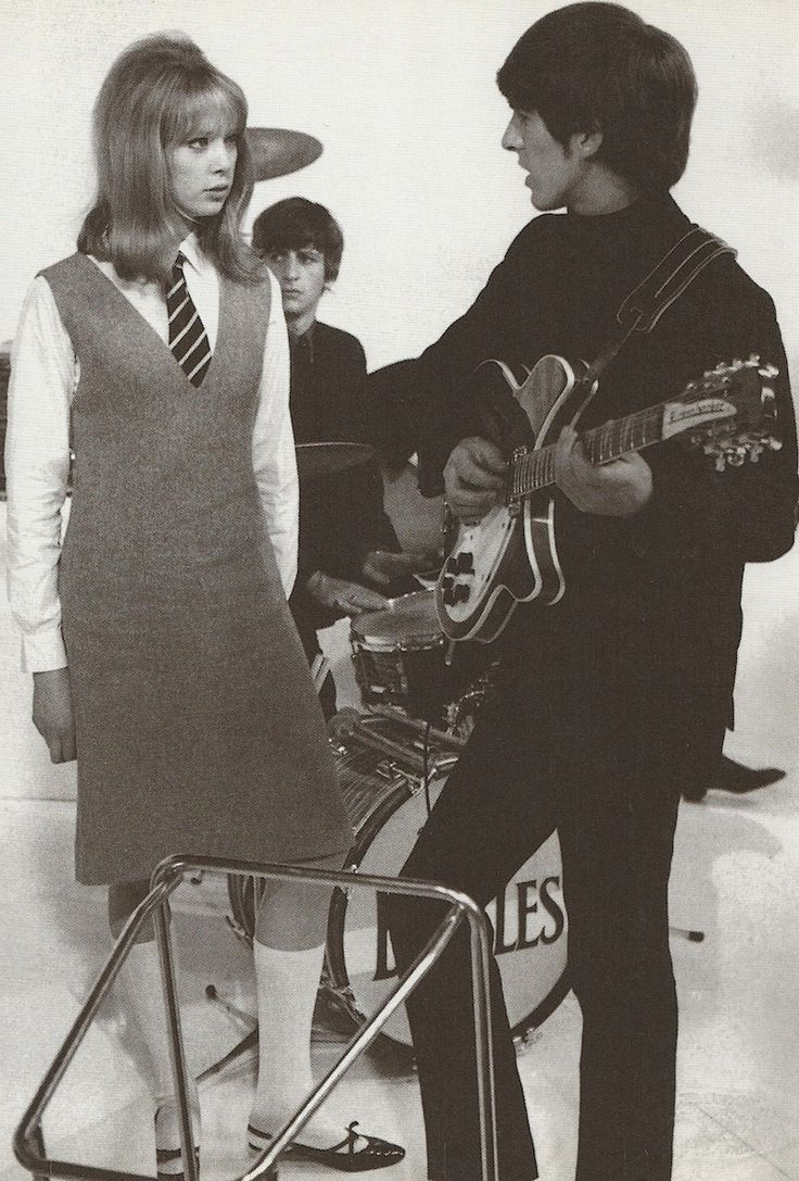 1964 - George Harrison and his ex-wife Patty Boyd, and Ringo Starr from A Hard Day's Night film (backstage photo).