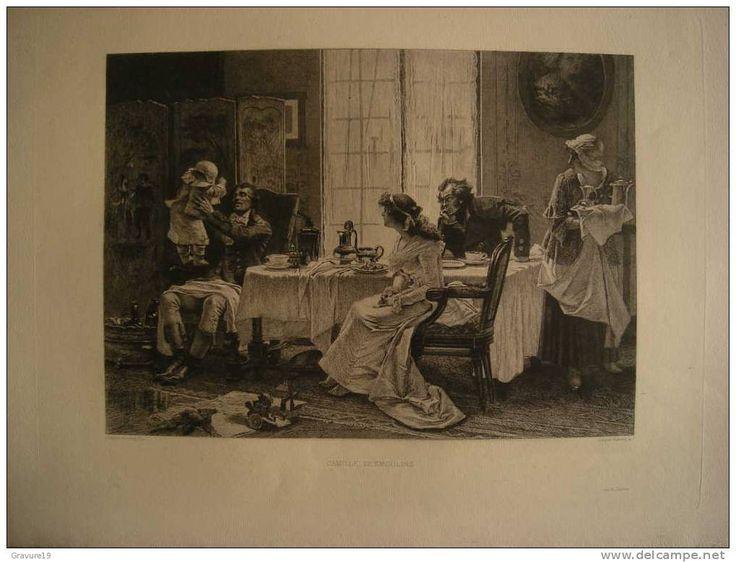 CAMILLE DESMOULINS EN FAMILLE - GRAVURE EAU FORTE 1880 PAR LEOPOLD & FRANCOIS FLAMENG