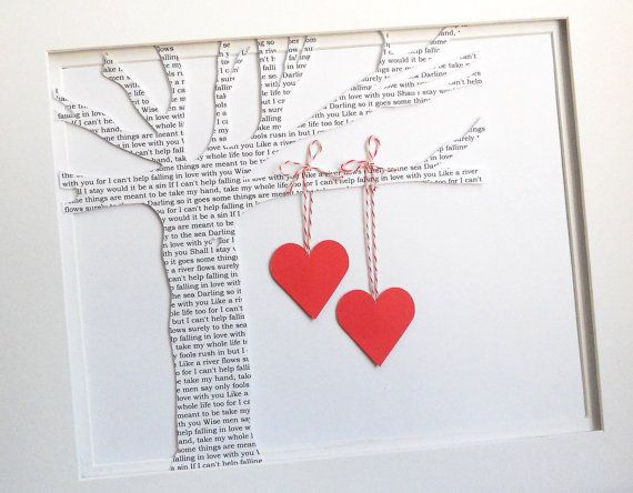 Anniversary gift - tree is made with paper that have first song lyrics.