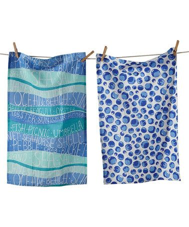 Loving this Seaside Text & Bubbles Tea Towel - Set of Two on #zulily! #zulilyfinds