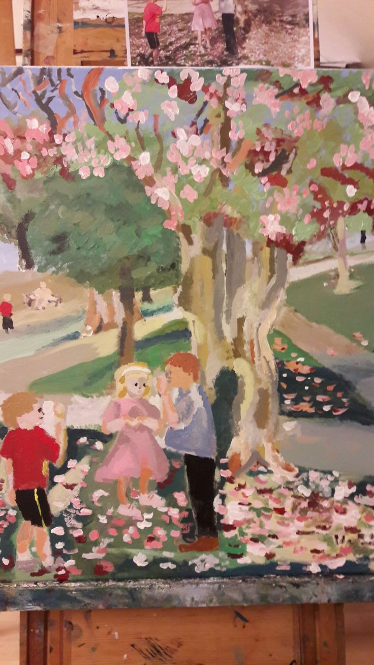Painting: under the magnolia painted by Ida Beate Serendahl