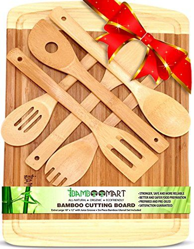 "With 6-Piece Wooden Spoons, Extra Large 18""x12"" Organic Bamboo Cutting Board 