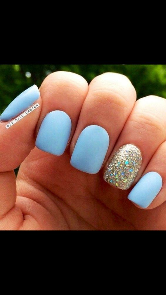 56 Must Try Trendy And Gorgeous Light Blue Sky Blue Nails Designs In Fall And Winter Nail Idea 03 Nailsdesign Matte Nails Design Simple Nails Blue Nails