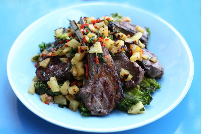 Barbecue lamb with pineapple and chilli vinaigrette - delicious in a summer salad. Recipe from my YouTube channel.