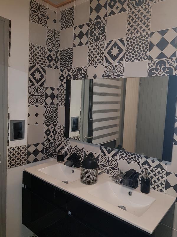 Carrelage Sol Mur Forte Effet Carreau De Ciment Noir Blanc Gatsby L 20xl 20 Cm Carrelage Sol Carrelage Mur Noir