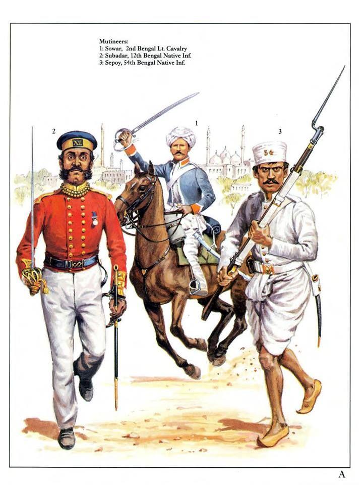 Mutineers: 1:Sowar,2nd Bengal Lt.Cavalry.2:Subadar,12th Bengal Native Inf.3:Sepoy,54th Bengal Native Inf.