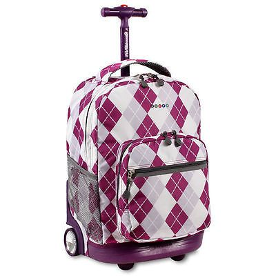 Kids Rolling Backpack for Girls Boys Teens J World Garden Purple Sunrise 18-inch