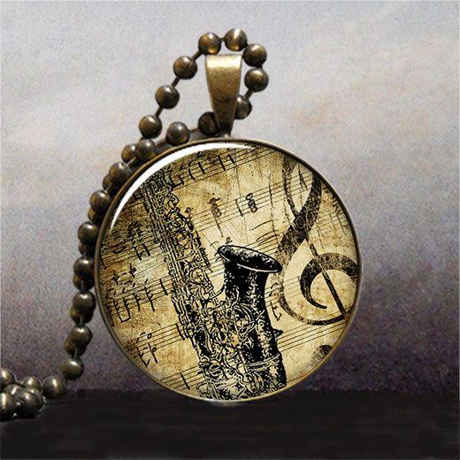Saxophone & Music  resin pendant music by thependantemporium, $9.25