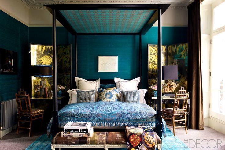 24++ Chambre bleu canard et noir inspirations