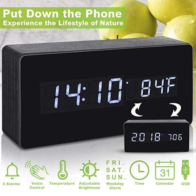Alarm Clock Digital Clock Wood Alarm Clocks For Bedrooms Voice Command Led Small Desk Clock With Acrylic Screen Woode Small Desk Clock Wooden Clock Alarm Clock