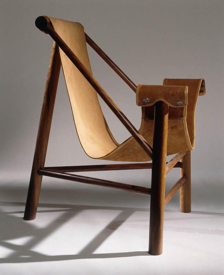 Lina Bo Bardi; Wood And Leather U0027Tripodu0027 Chair, ...