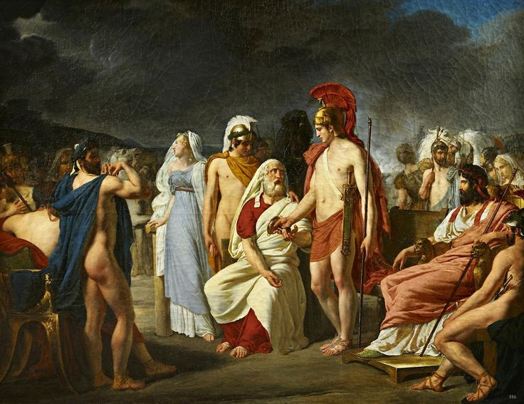 Achilles Giving Nestor the Price of Wisdom. 1820. Raymond Quinsac Monvoisin. French 1794-1870. oil/canvas. http://hadrian6.tumblr.com
