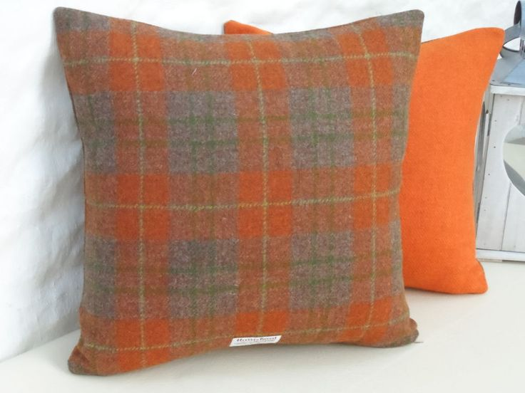 HARRIS TWEED Wool Modern Clemantine ORANGE/GREY/ BROWN Check Cushion Cover in Home, Furniture & DIY, Home Decor, Cushions | eBay