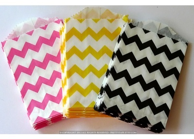 """These chevron striped pattern paper bag's petite size makes them perfect for small treats of loose candy or as a unique envelope for a note, gift tag or business card. $5.00 for 20. 2.75 x 4""""  Kraft paper  Food Safe  Semi-opaque  Bio-degradable  Recyclable  Made in the USA: Party Favors, Gifts Bags, Paper Bags, Chevron Bags, Stripes Patterns, Party Bags, Favors Bags, Yellow Chevron, Chevron Stripes"""