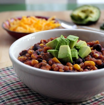 Meatless Chilli made in the slowcooker