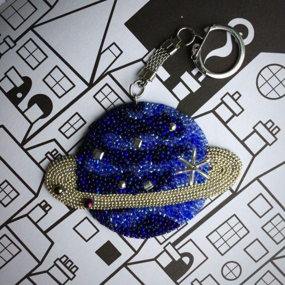Blue Planet bag charm space accessory unique key chain beaded