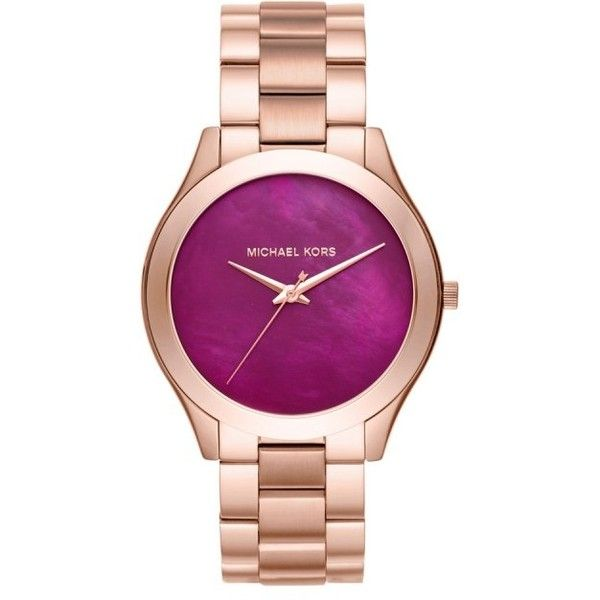 Michael Kors Ladies Slim Runway Watch Rosegold in gold, purple,... ($190) ❤ liked on Polyvore featuring jewelry, watches, purple watches, water proof watches, gold watches, yellow gold watches and michael kors jewelry