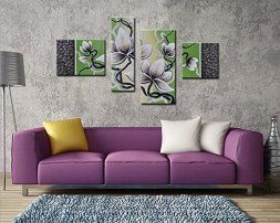 Green home wall art décor is enchanting, beautiful and unique. It does not matter if you like jade, emerald, lime, forest, hunter or pale green, green wall art is truly captivating and stunningly beautiful. Furthermore you will love the wide variety available   Noah Art-Impressionism Flower Canvas Wall Art, 4 Panel 100% Hand Painted On Canvas Framed Gallery-Wrapped Oil paintings of Flowers, Ready to Hang for Dining Room Home Decor Wall Decorations