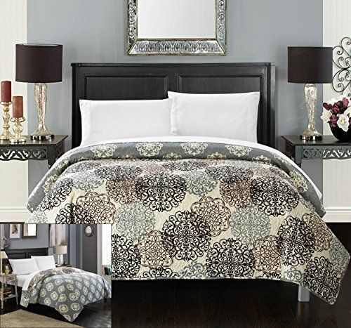 Chic Home 1 Piece Judith Boho Inspired Reversible Print Quilt Set, Queen, Beige ** Want to know more, click on the image.