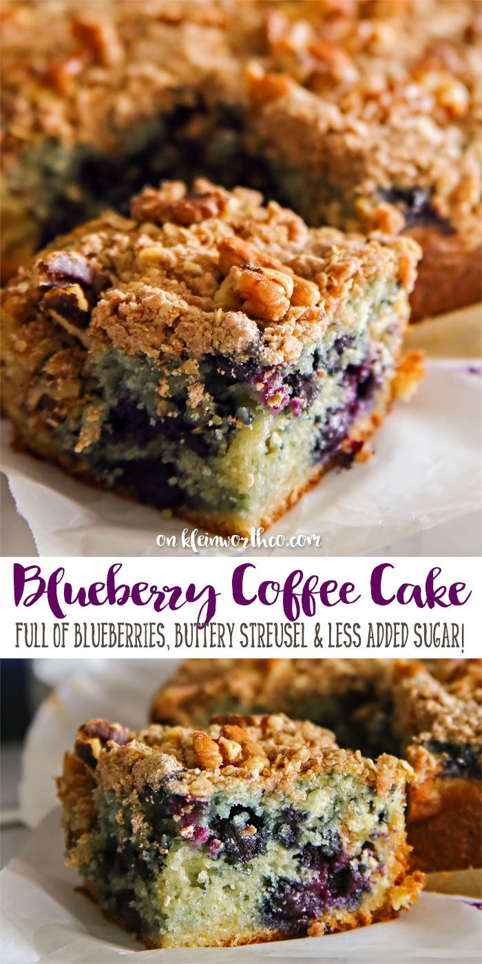 Blueberry Coffee Cake is a delicious breakfast recipe. Loaded with fresh blueberries & a buttery streusel topping. Made with SPLENDA & less added sugar. via @KleinworthCo