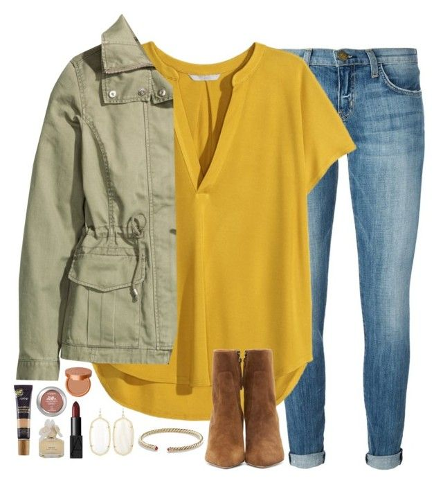 """mustard yellow & army green"" by emmig02 ❤ liked on Polyvore featuring Kendra Scott, Current/Elliott, H&M, Isabel Marant, David Yurman, tarte, Stila, NARS Cosmetics and Marc by Marc Jacobs"