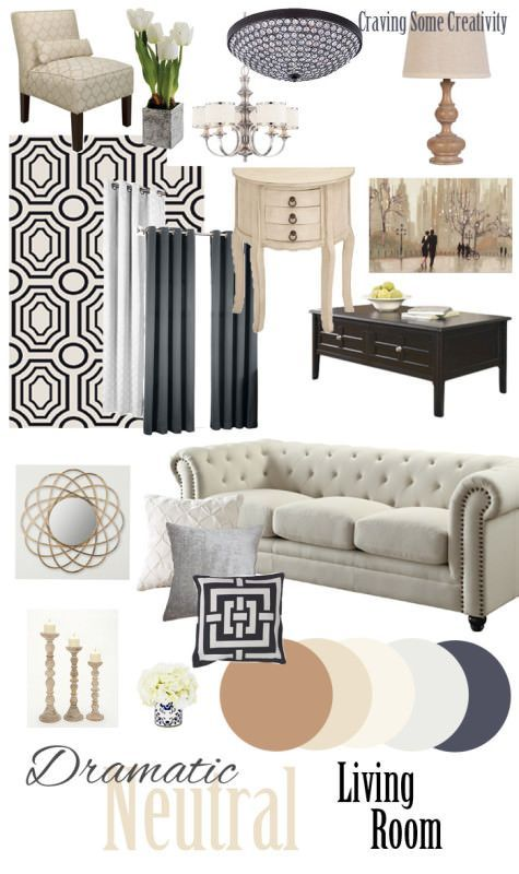 January design board neutral sophisticated living room for Sophisticated living room designs