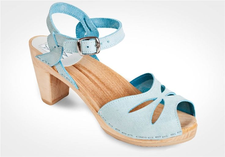 The Rio clog sandal has an open toe front and an adjustable ankle strap.