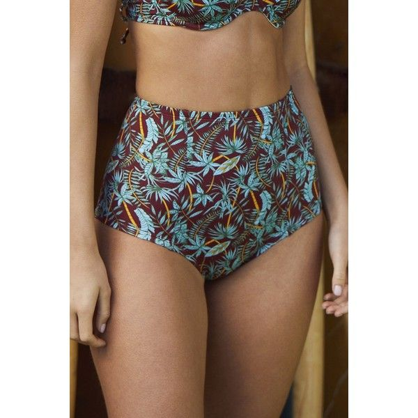 Out From Under Printed Flat High-Waisted Bikini Bottom (940 DOP) ❤ liked on Polyvore featuring swimwear, bikinis, bikini bottoms, highwaisted bikini bottoms, high waisted two piece, retro style swimwear, bottom bikini and bikini bottom swimwear
