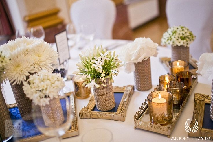 2. Platinum Gold Wedding, Centerpieces / Platynowo złote wesele, Dekoracja stołu Pary Młodej, Anioły Przyjęć