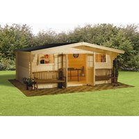 FINNLIFE 0130 Log Cabin Double door with green felt shingle tongue and groove roof and tongue and groove floor. 1 Room2 Opening Styrene WindowsSoftwood28mm Wall ThicknessLocking Doors http://www.comparestoreprices.co.uk/other-products/finnlife-0130-log-cabin.asp