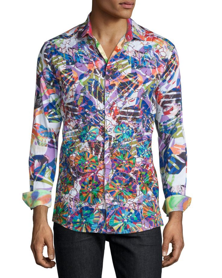Limited Edition Allover Printed Sport Shirt, Multi, Men's, Size: XX-LARGE - Robert Graham