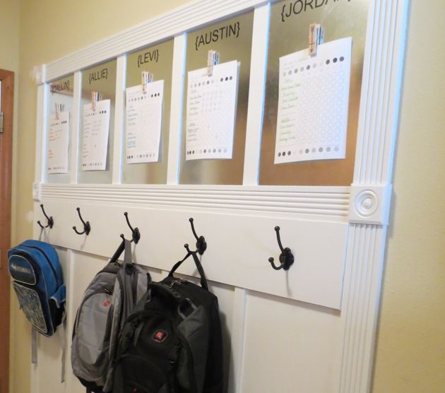 DIY Organizational Wall for kids backpacks and important papers.