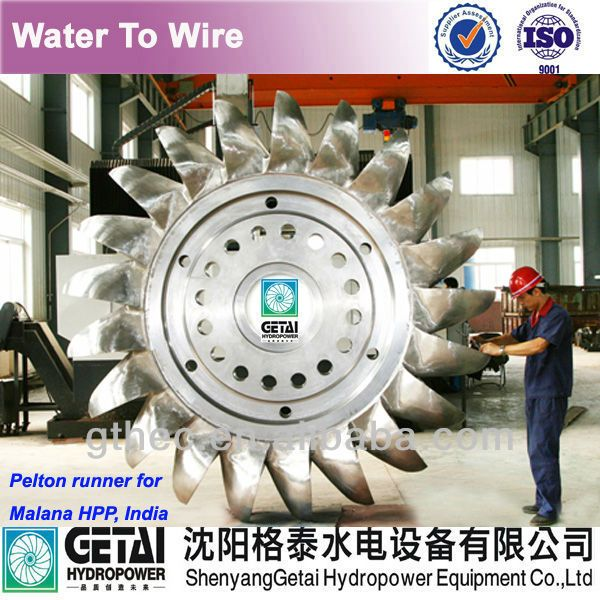 Model test and CFD C0-Cr-WC coated pelton water wheel for turbina de agua  turbine generator made in china from shenyang getai $10000~$100000