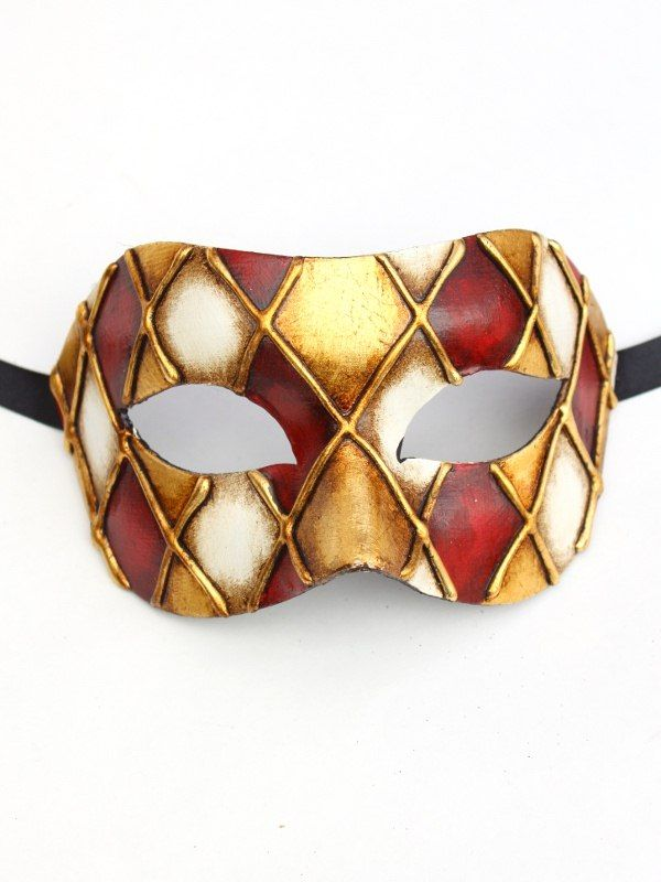 Burgundy U0026 Gold Checkered Venetian Mask   Also In Blue, Black U0026 Green