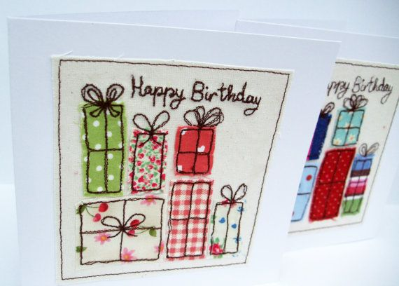 Birthday Card – Machine Embroidered Birthday Presents, Birthday Gifts – Card for Wife – Friend – Girlfriend – Handmade Greeting Card