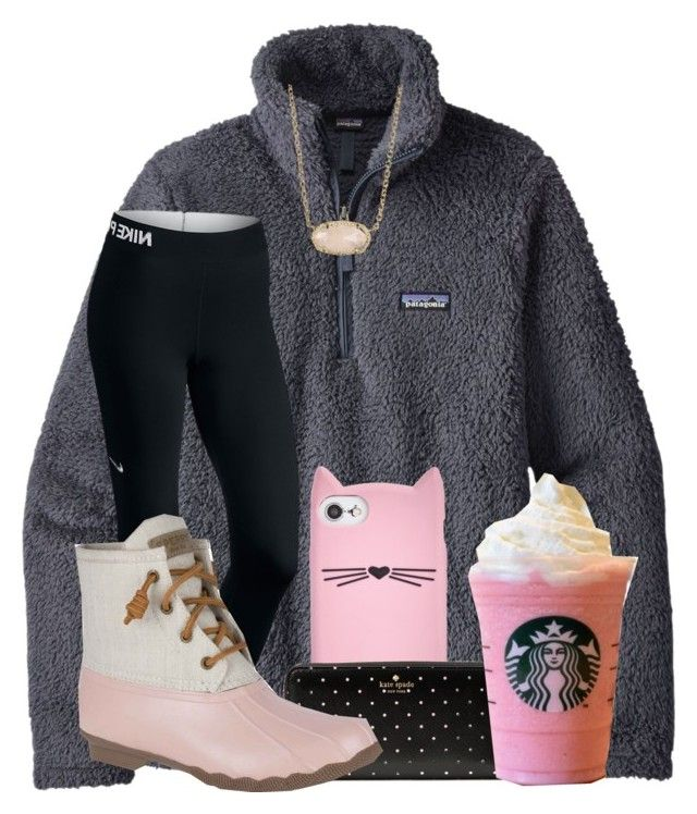 """""""I adopted a cat today!"""" by joyfully-elizabeth ❤ liked on Polyvore featuring Patagonia, Kate Spade, NIKE, Sperry and Kendra Scott"""