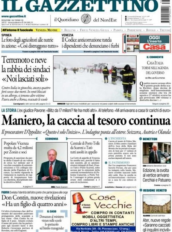 Il Gazzettino Prima Pagina di Oggi 19 Gennaio 2017 http://ift.tt/2iT3JAk