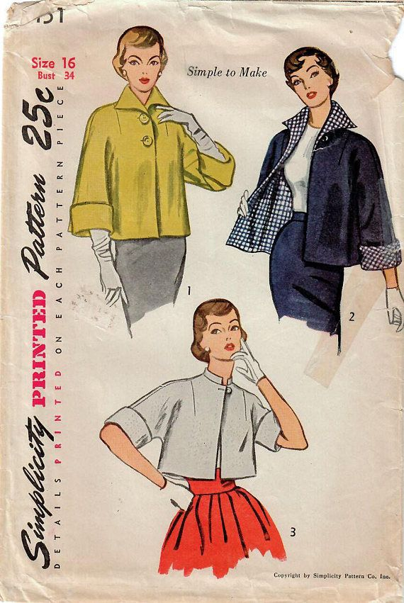 1950s Simplicity 3451 Vintage Sewing Pattern Misses Short