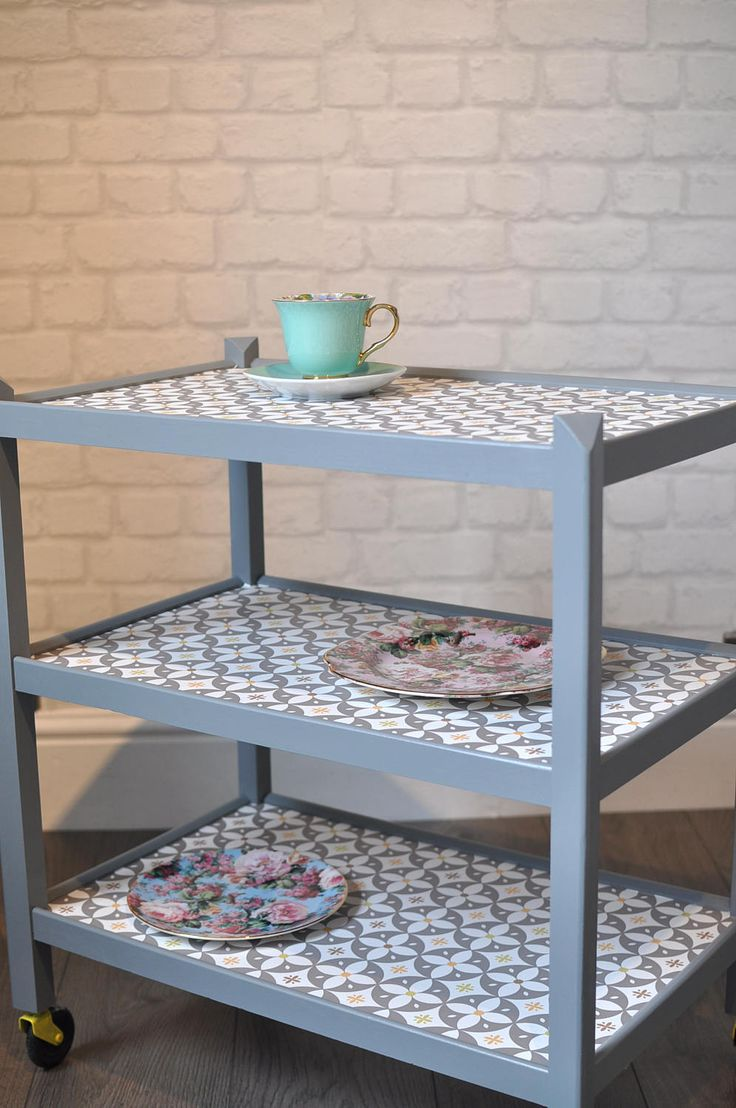 Upcycled Mid Century Vintage Retro 1960s Wooden Hostess Trolley, Table,  Decoupage Vintage Side Table